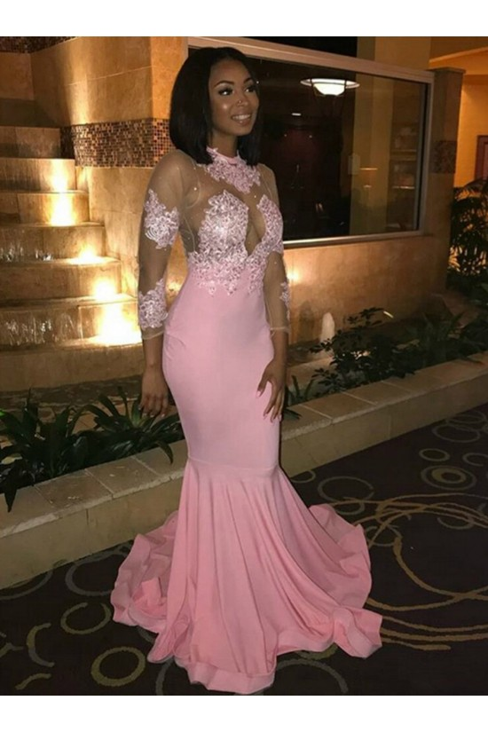 Mermaid Lace Long Sleeves Pink Prom Dresses Formal Evening Gowns 6011491