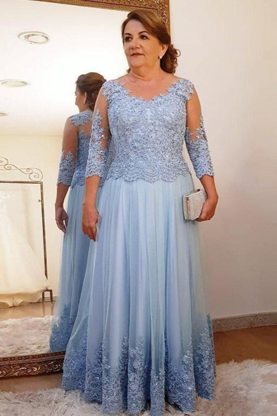 Elegant Beaded Lace 3/4 Length Sleeves Mother of the Bride Dresses 702002