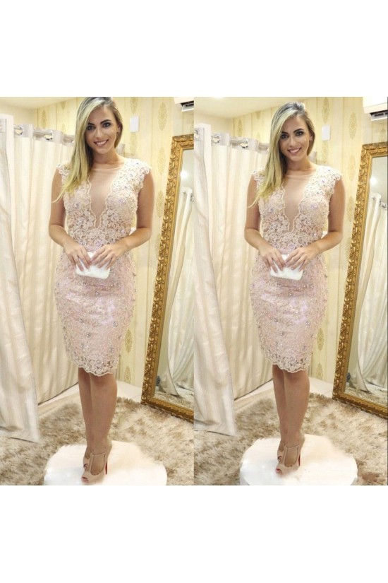 Short Beaded Lace Mother of the Bride Dresses 702078