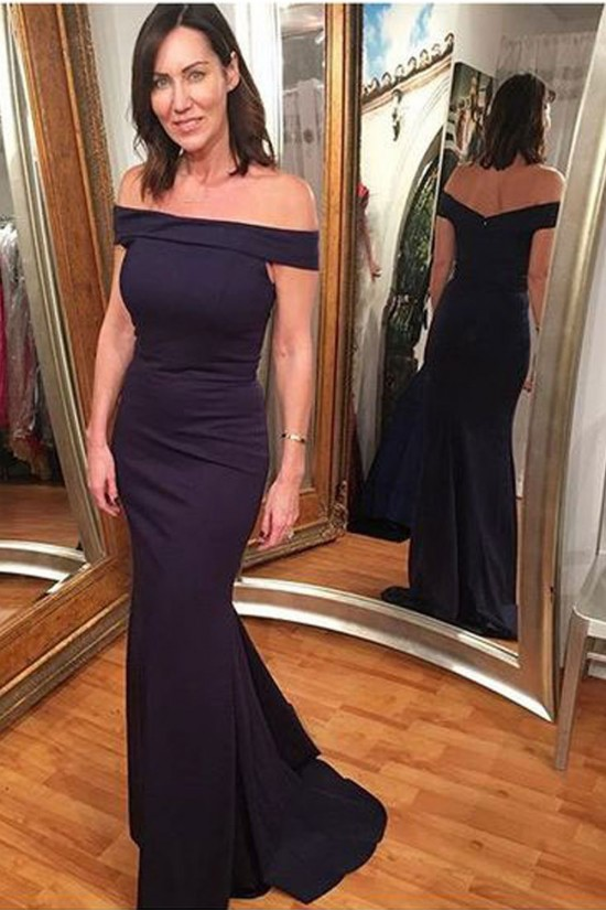 Mermaid Off-the-Shoulder Long Mother of the Bride Dresses 702092