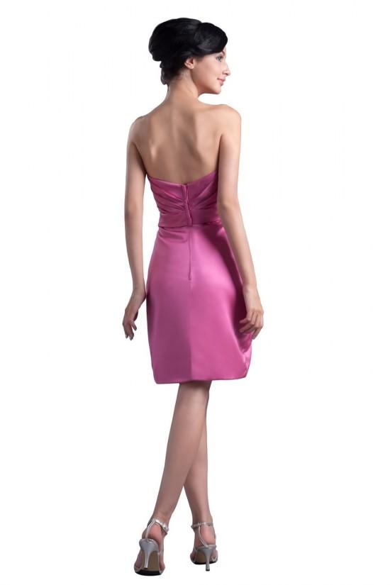 Short/Mini Strapless Satin Bridesmaid Dresses/Wedding Party Dresses BD010051