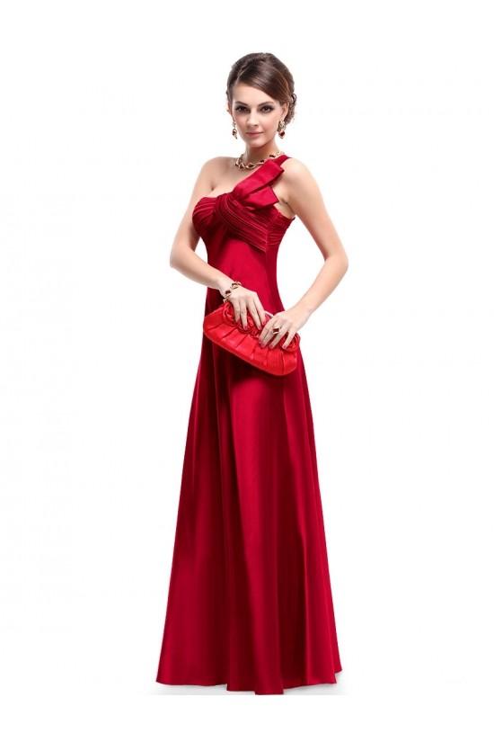 Empire One-Shoulder Red Long Chiffon Bridesmaid Dresses/Evening Dresses BD010270