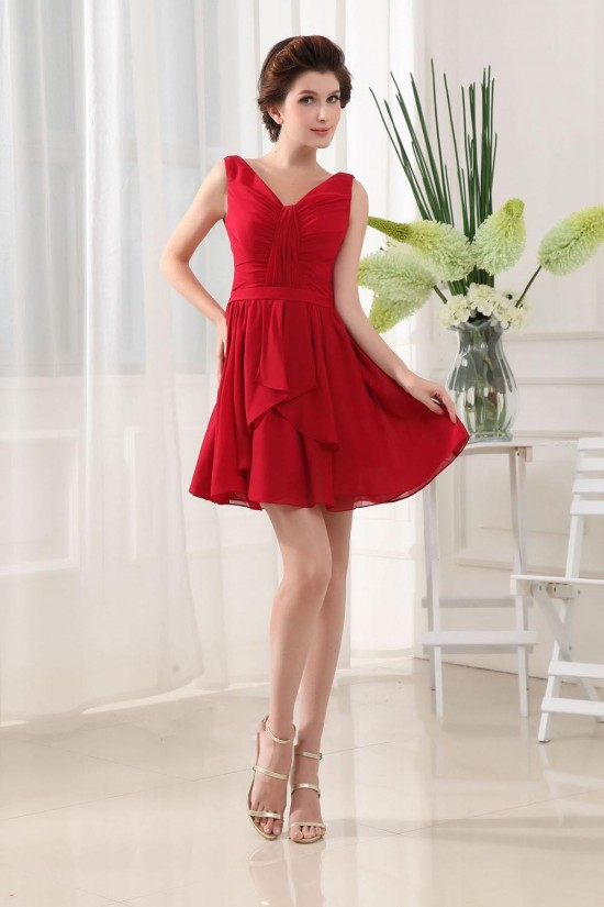 A-Line Short V-Neck Red Chiffon Bridesmaid Dresses/Wedding Party Dresses BD010368