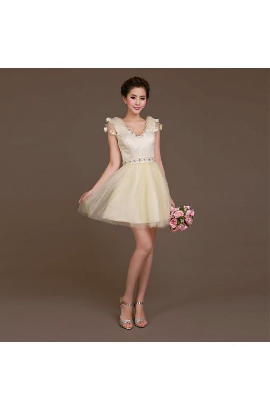 A-Line Beaded Tulle Short V-Neck Bridesmaid Dresses/Evening Dresses BD010619