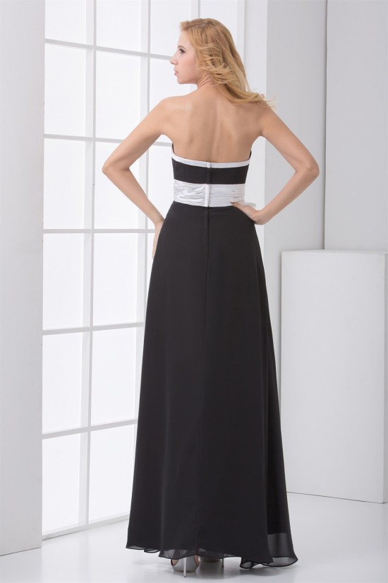 A-Line Strapless Sleeveless Long Black White Chiffon Bridesmaid Dresses 02010147