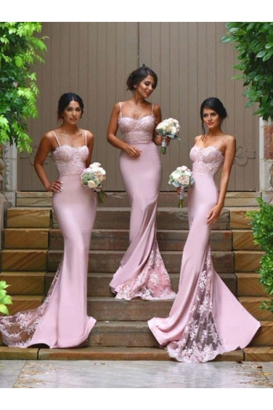 Trumpet/Mermaid Spaghetti Straps Lace Wedding Party Dresses Bridesmaid Dresses 3010075