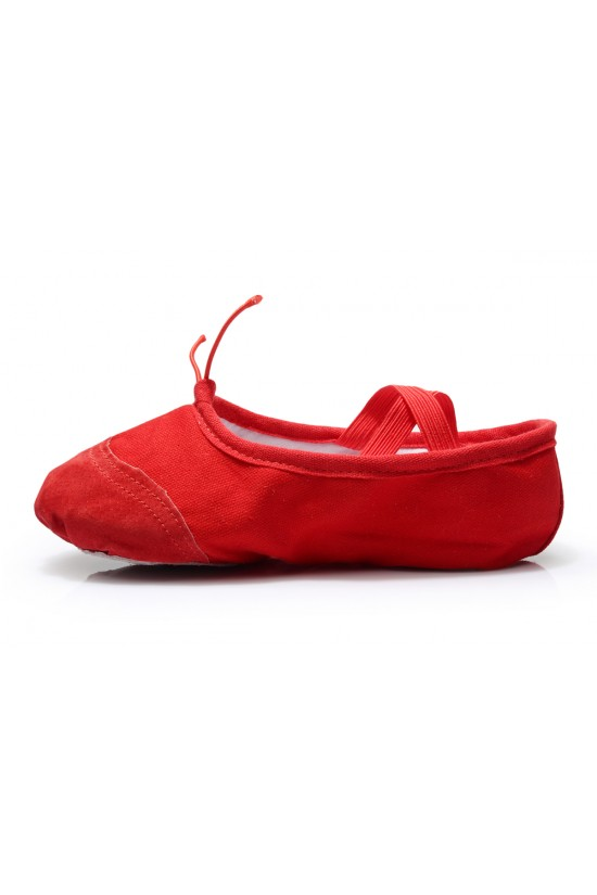 Women's Kids' Red Canvas Dance Shoes Ballet/Latin/Yoga/Dance Sneakers Canvas Flat Heel D601042