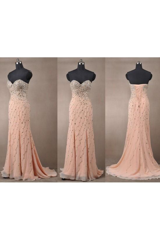 Beaded Sweetheart Long Chiffon Prom Evening Formal Dresses ED011084