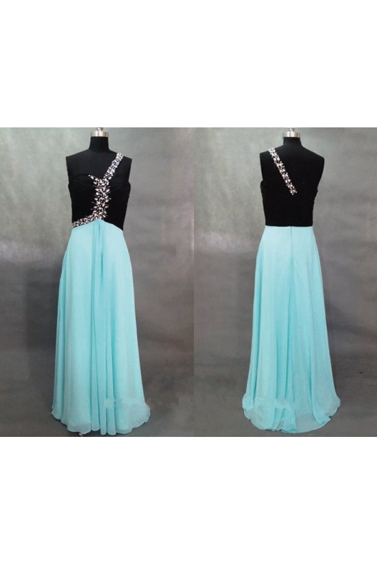 A-Line One-Shoulder Beaded Long Chiffon Prom Evening Formal Dresses ED011133