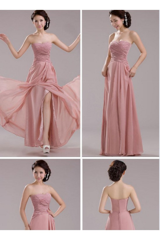 A-Line Long Pink Chiffon Prom Evening Formal Bridesmaid Dresses ED011203