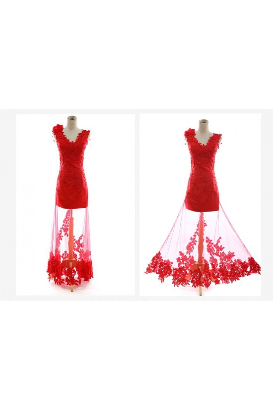 Long Red Prom Evening Formal Dresses ED011255