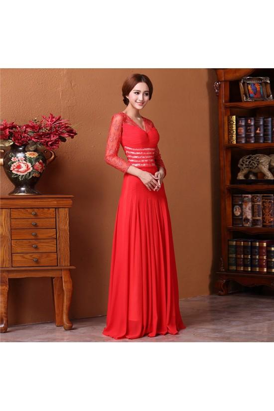 A-Line V-Neck 3/4 Sleeve Long Red Prom Evening Formal Dresses ED011313