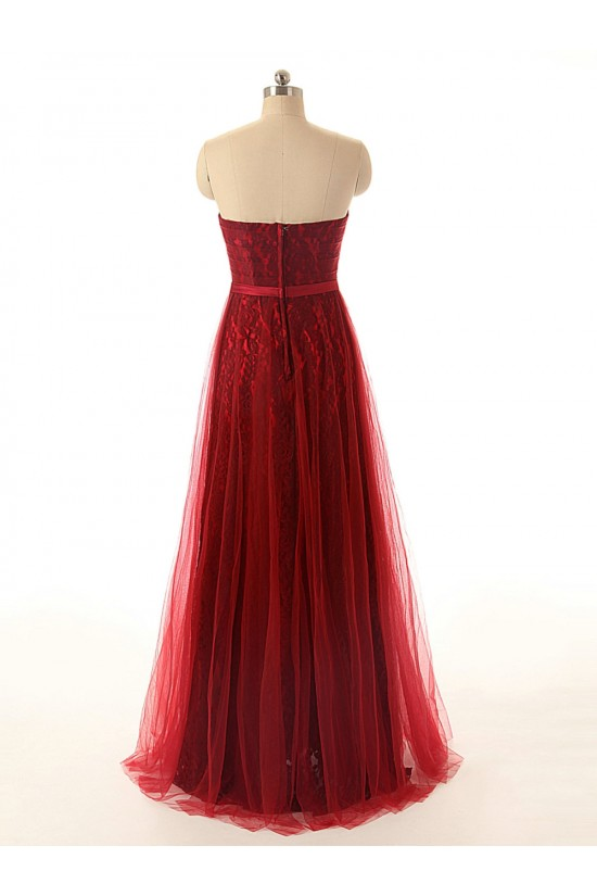 A-Line Sweetheart Long Red Lace and Tulle Prom Evening Formal Dresses ED011553