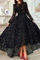 Vinatge Long Sleeve Asymmetrical Black Lace Evening Dress ED010725
