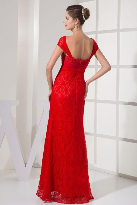 Sheath Off-the-Shoulder Long Red Chiffon and Lace Prom Evening Dresses ED010791