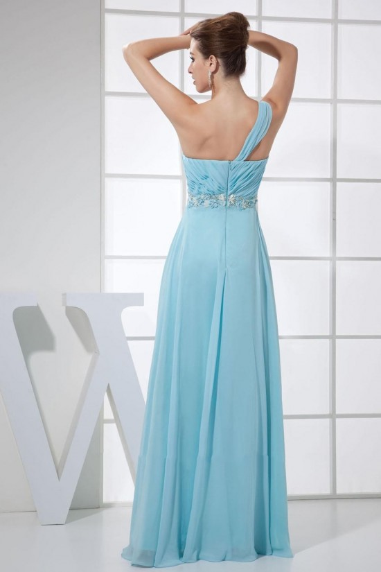 Empire One-Shoulder Beaded Blue Long Chiffon Prom Evening Formal Dresses Maternity Dresses ED010907