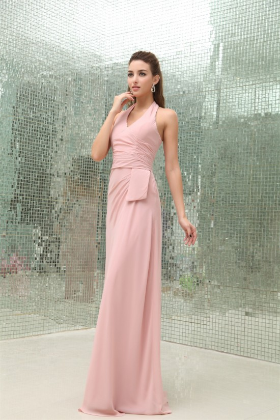 Affordable Sheath/Column Pleats Halter Floor-Length Chiffon Long Pink Evening Formal Bridesmaid Dresses 02020025