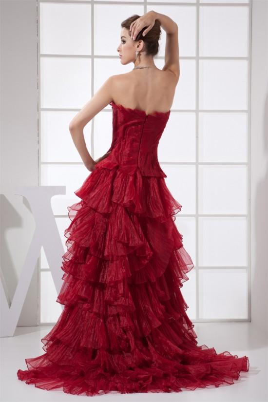 Organza Sleeveless Ruffles Long Red Prom/Formal Evening Dresses 02020277