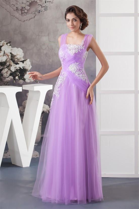 Floor-Length Straps Beading Fine Netting Long Purple Prom/Formal Evening Dresses 02020526