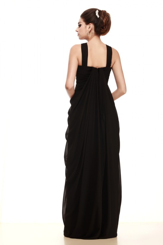 Sheath/Column Long Black Chiffon Prom Evening Party Dresses 02020977