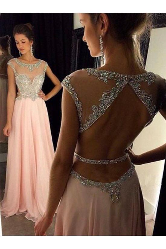 Long Pink Beaded Chiffon Prom Evening Formal Dresses 3020049