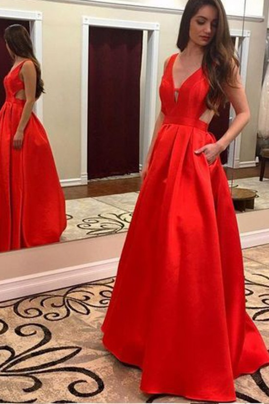 Sexy Sequins V-Neck Long Prom Formal Evening Party Dresses 3021076