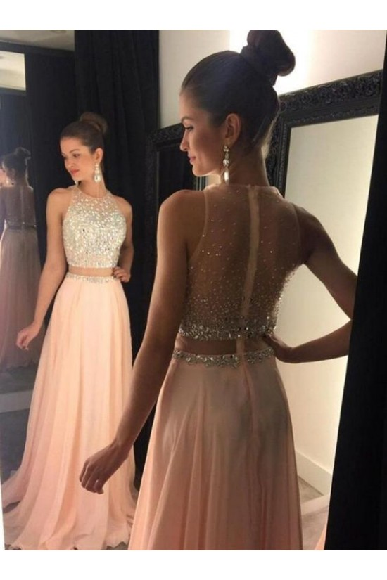 Beaded Two Pieces See Through Long Prom Evening Formal Dresses 3020115