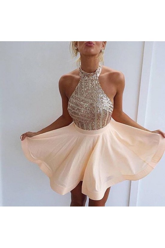 Halter Sequins Short Backless Homecoming Cocktail Prom Dresses Evening Gowns 3020204
