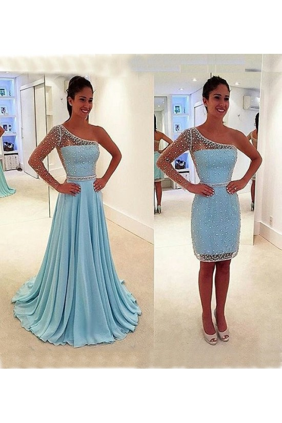 A-Line Beaded One Sleeve Prom Dresses Party Evening Gowns 3020458