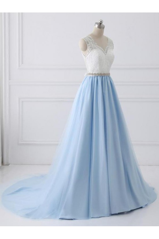 A-Line Beaded Lace Long Prom Dresses Formal Evening Dresses 601178