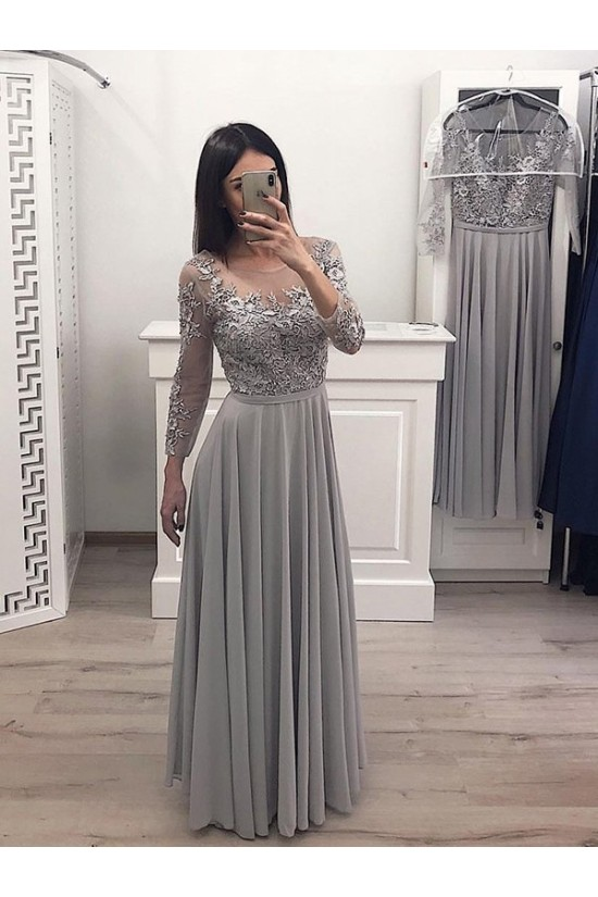 A-Line Chiffon Lace Long Prom Dress Formal Evening Dresses 601707