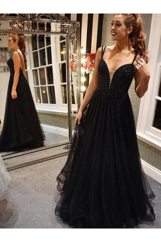 A-Line Beaded Long Black Prom Dress Formal Evening Dresses 601722