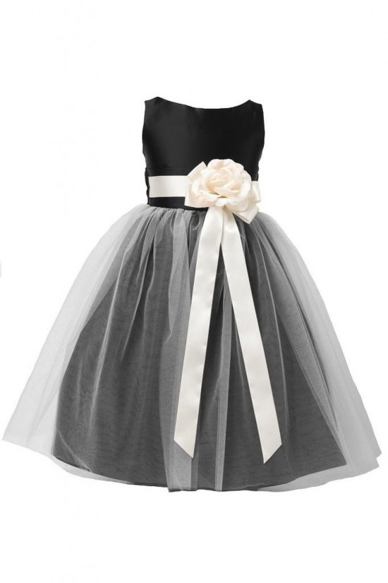A-Line Tulle and Satin Flower Girl Dresses F010003