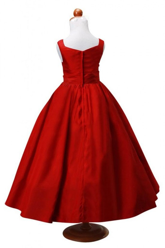 A-Line Red Flower Girl Dresses F010007