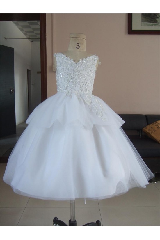 Ball Gown Beaded Applique Flower Girl Dresses F010016