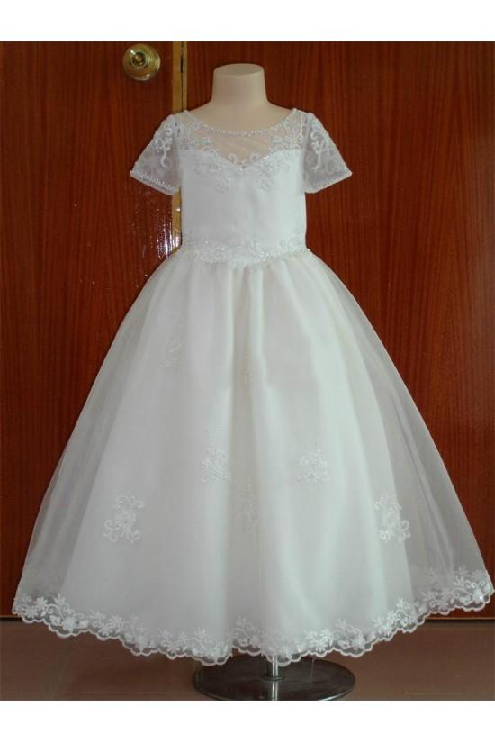 A-Line Beaded Short Sleeve Flower Girl Dresses F010022