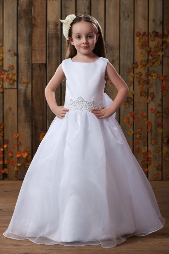 A-Line Beaded Sequins Bowknot Flower Girl Dresses 2050010