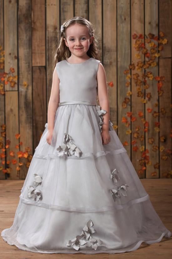 A-Line Beaded Handmade Flowers Flower Girl Dresses 2050017