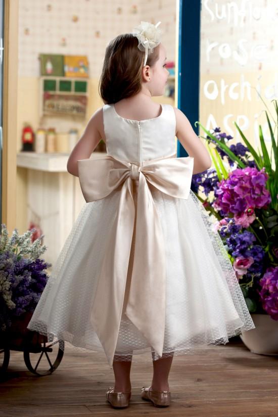 A-Line Tea-Length Straps Bowknot Flower Girl Dresses 2050018