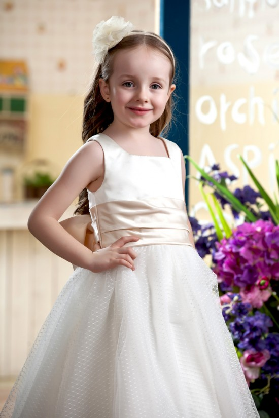 A-Line Tea-Length Straps Bowknot Flower Girl Dresses 2050018