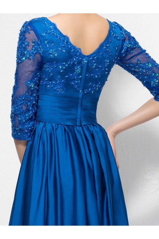 A-Line Long Blue V-Neck 3/4 Length Sleeves Lace Mother of The Bride Dresses 3040007