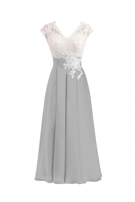 A-Line V-Neck Lace and Chiffon Tea-Length Mother of The Bride Dresses 602013