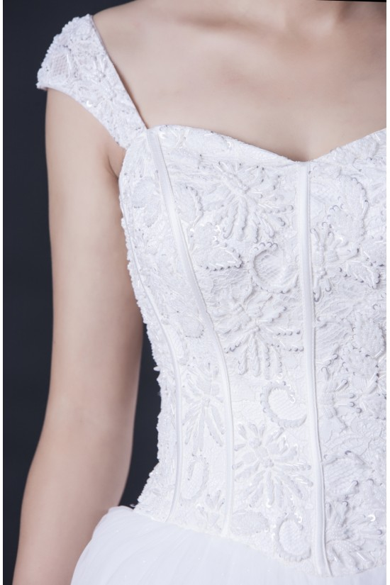 Ball Gown Off the Shoulder Beaded Lace Bridal Wedding Dresses WD010408