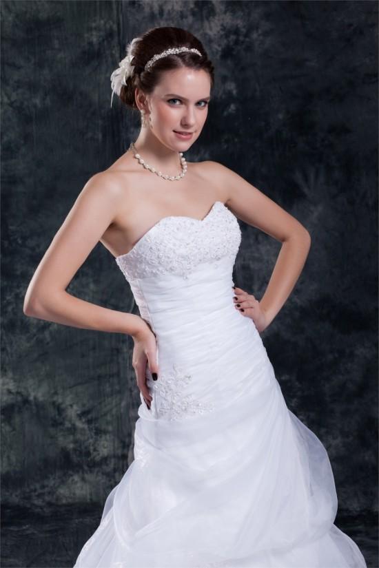 Satin Organza Sweetheart Sleeveless A-Line Most Beautiful Wedding Dresses 2031301