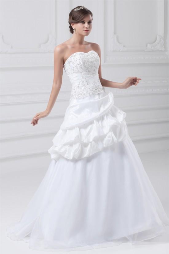 Sweetheart Sleeveless Satin Organza Taffeta Wedding Dresses 2031395