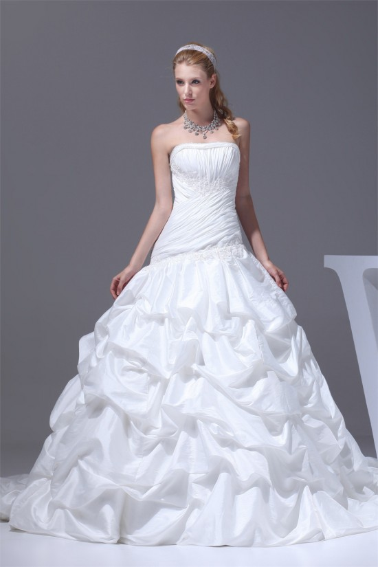 A-Line Strapless Satin Taffeta Sweet Wedding Dresses 2030355