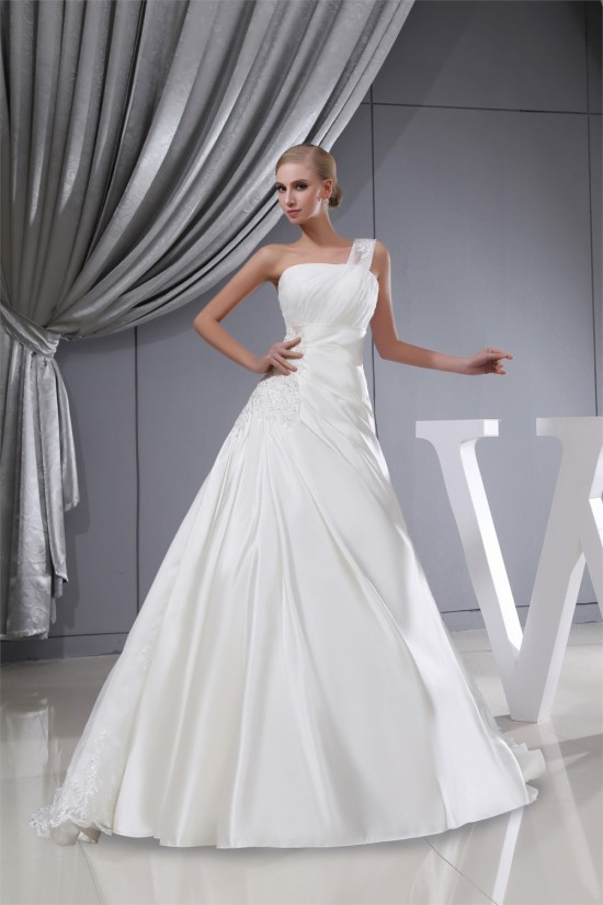 A-Line Satin Lace Organza One-Shoulder Wedding Dresses 2030392