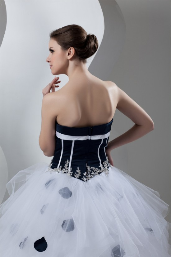 Charming Satin Organza Princess Sweetheart Sleeveless Wedding Dresses 2030651