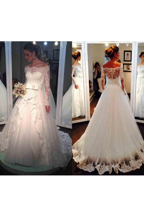 A-Line Long Sleeves Lace Off-the-Shoulder Wedding Dresses Bridal Gowns 3030213